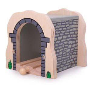 Детски дървен тухлен тунел с релса Сив BigJigs BJT120 (1)