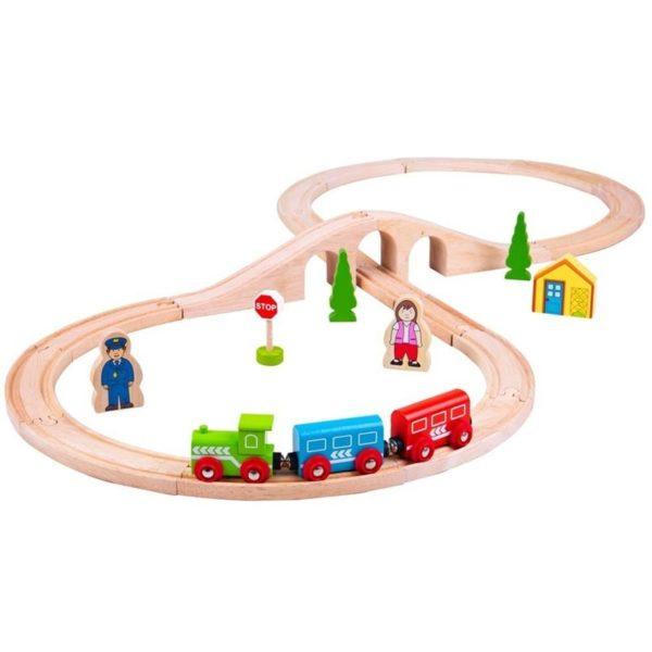 Детски комплект дървен влак Bigjigs BJT012 (1)
