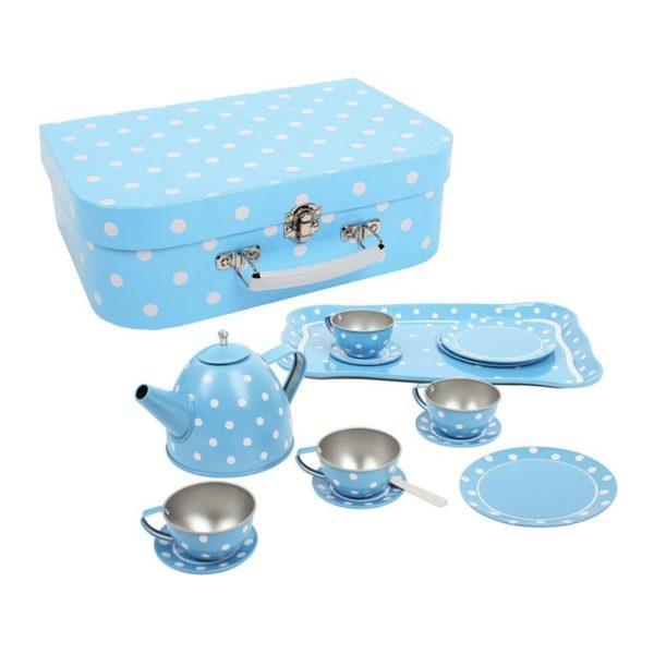 Детски комплект за чай син на малки бели точици Bigjigs BJ614 (1)
