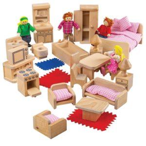 Детски комплект семейство кукли с обзавеждане BigJigs BJ039 1