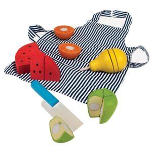 Детски кухненски комплект с дървени плодове за рязане BigJigs BJ648 1 (1)