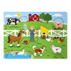 Детски музикален пъзел с дръжки Старата ферма на Макдоналд Melissa & Doug 10738 (1)