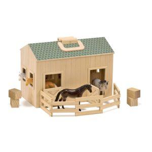 Дървена играчка Сгъваема конюшня с кончета Melissa & Doug 13704 (1)