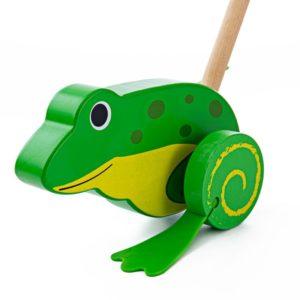 Дървена играчка за бутане Жабка BigJigs BB134 (1)
