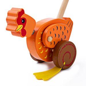 Дървена играчка за бутане Кокошка BigJigs BB131 (1)