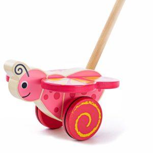Дървена играчка за бутане Пеперуда Bigjigs BB141 (2)