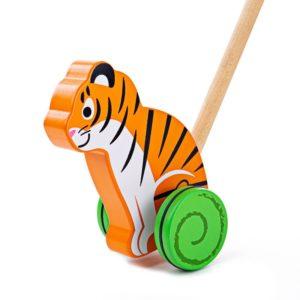 Дървена играчка за бутане Тигър Bigjigs BB137 (1)