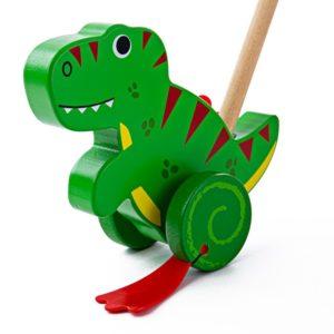 Дървена играчка за бутане Тиранозавър рекс BigJigs BB139 (1)