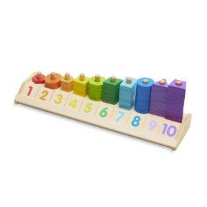 Дървена цветна низанка с цифри и форми Melissa & Doug 19275 1 (1)