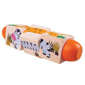 Дървени въртящи се кубчета В джунглата Bigjigs BJ077 1