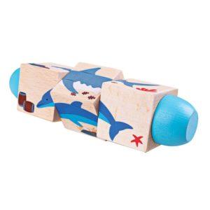 Дървени въртящи се кубчета В морето Bigjigs BJ076 1