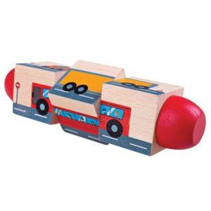 Дървени въртящи се кубчета Превозни средства Bigjigs BJ078 1