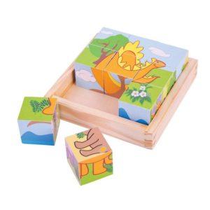 Дървени кубчета в кутия Динозаври BigJigs BJ513 1