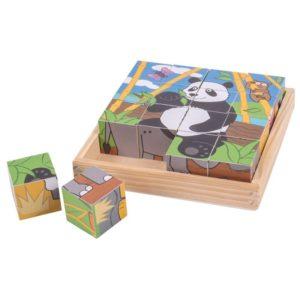 Дървени кубчета в рамка Животни Bigjigs BJ263 1