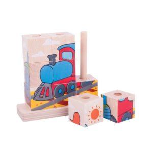 Дървени кубчета за нанизване Превозни средства BigJigs BB105 (1)