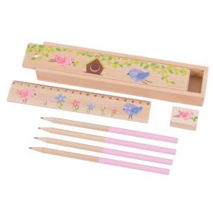 Дървен моливник с моливи, линия и острилка 2 варианта BigJigs BJ233 (1)