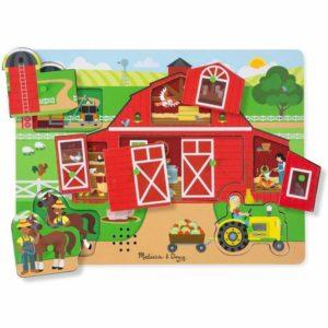 Дървен музикален пъзел с дръжки Около ферма Melissa & Doug 42800 (1)
