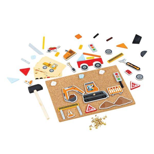 Игра с коркова дъска и чукче Делукс Строителна площадка Bigjigs BJ179 1