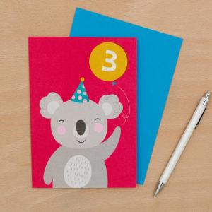 Картичка за трети рожден ден Коала Rex London 27616 (1)
