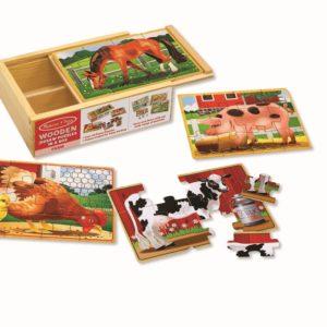 Комплект дървени пъзели 4 бр в кутия Животните от фермата Melissa & Doug 13793 (1)