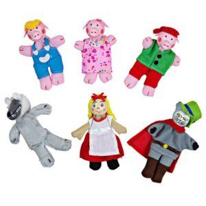 Кукли за пръсти за куклен театър Приказни герои 6 броя BigJigs BJ705 1