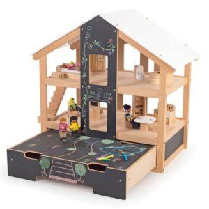 Отворена дървена куклена къща Обзаведена BigJigs T0400 1
