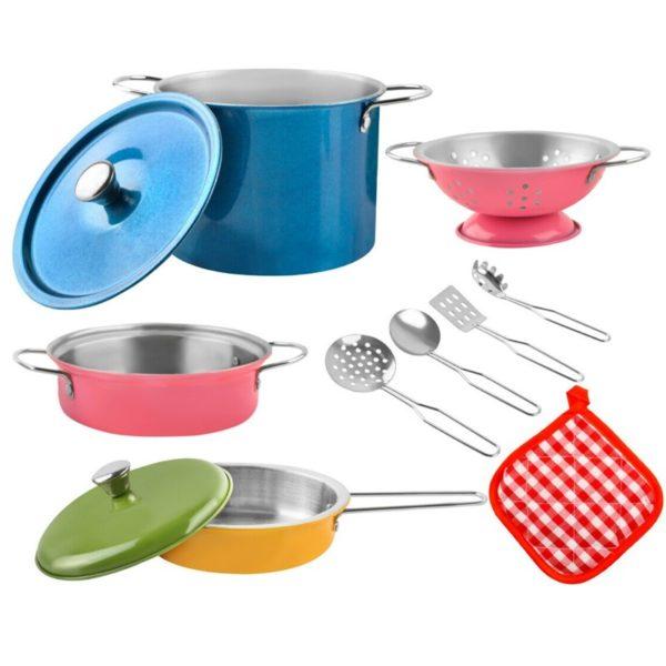Голям комплект детски цветни съдове за готвене KRU8246 (1)