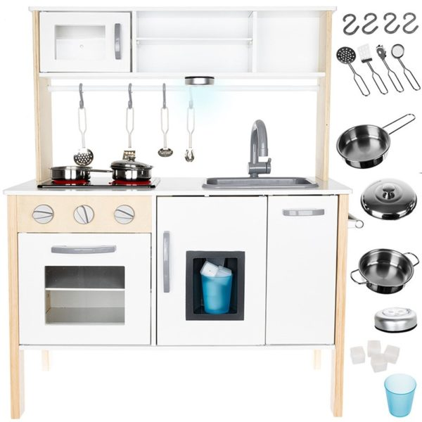 Детска дървена бяла кухня със светлина и съдове KRU11135 (1)