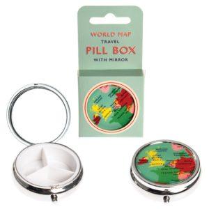 Детска метална кутийка за хапчета с огледалце Карта на света Rex London 28243 (1)