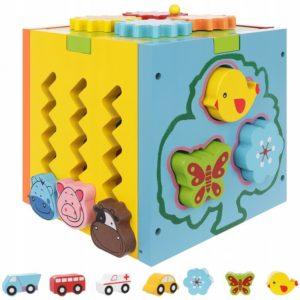 Детско дървено образователно кубче - сортер KRU11245 (1)
