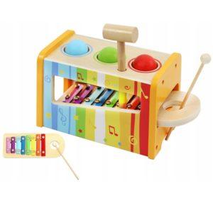 Дървен детски ксилофон с чукче KRU6523 (1)