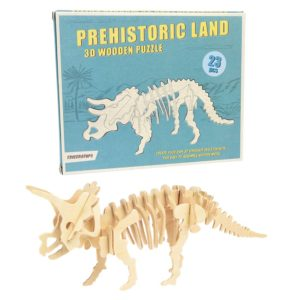 Дървен 3D пъзел Праисторическа земя Трицератопс Rex London 28268 (1)