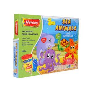 Комплект Морски животинки, 1500 грама кинетичен пясък, голям басейн, 8 фигурки kum-013 (1)