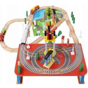 Комплект детско дървено влакче с аксесоари 88 части KRU9363 (1)