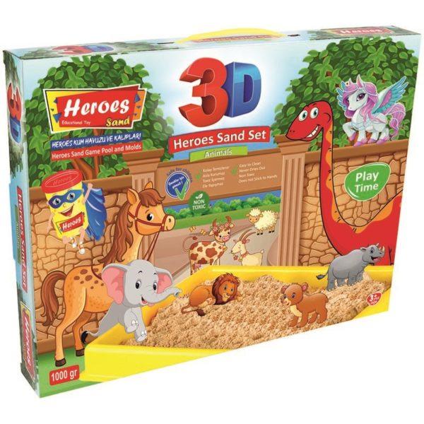 Комплект кинетичен пясък 2000 грама, 3 D фигурки за моделиране на селскостопански животни, голям басейн 40 х 30 см 037 (1)
