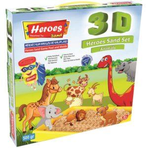 Комплект кинетичен пясък 500 грама, 3 D фигурки за моделиране на горски животни, басейн 30 х 30 см 034 (1)