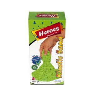 Кутия зелен кинетичен пясък 1000 грама 0024 (1)