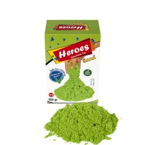 Кутия зелен цвят кинетичен пясък 500 грама 0015 (1)
