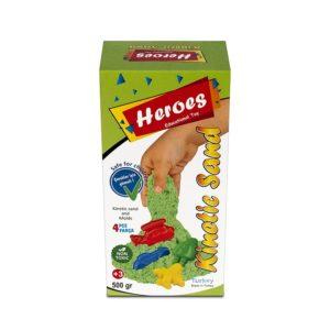 Кутия кинетичен пясък зелен цвят 500 грама с 4 броя фигурки 003 5 (1)