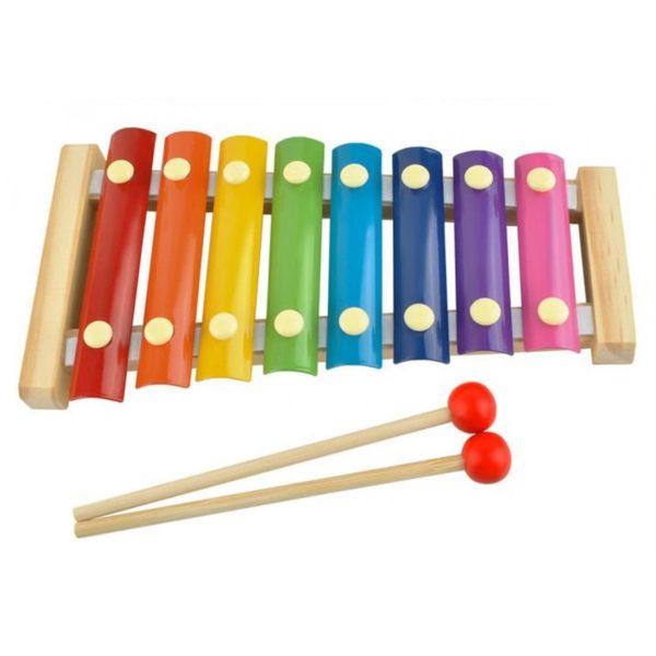 Цветен дървен детски ксилофон с две чукчета KRU6078 (1)