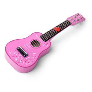 Детска дървена китара в розов цвят Bigjigs 1