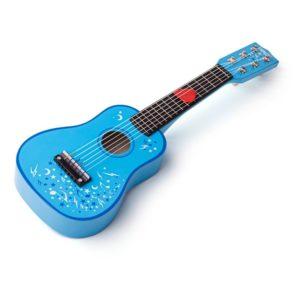 Детска дървена китара в син цвят Bigjigs 1