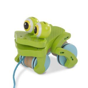 Дървена играчка за дърпане Жаба Melissa & Doug 1