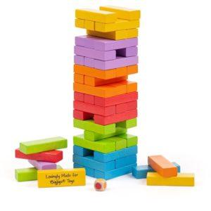 Дженга Bigjigs - дървена цветна кула за подреждане