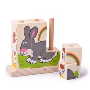 Дървени кубчета за нанизване Домашни животни Bigjigs 1