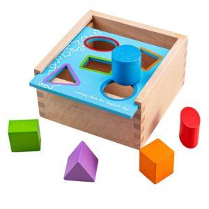 Дървен сортер с цветни геометрични фигурки Bigjigs 1
