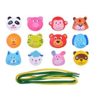 Детска дървена низанка с животни 12 части Acool Toy ACT39