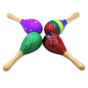 Детска дървена шарена дрънкалка тип маракаса Acool Toy ACT41