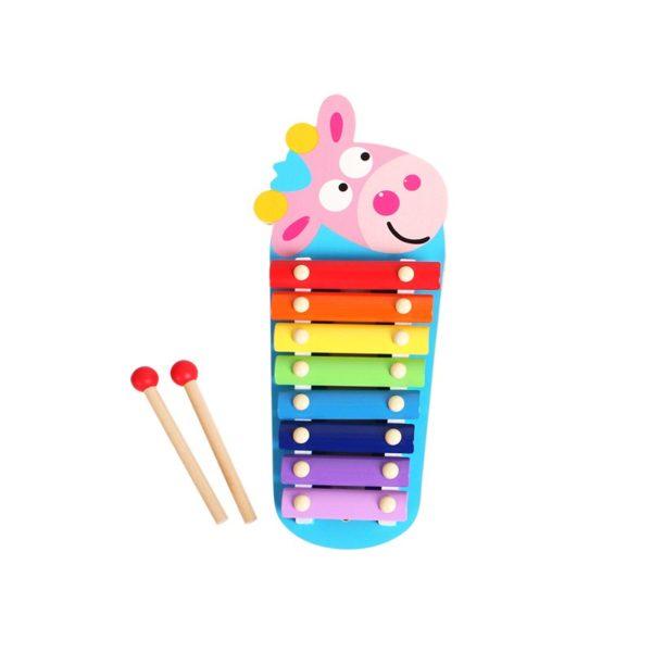 Детски дървен ксилофон с розова крава Acool Toy ACT46