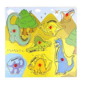 Детски дървен пъзел с диви животни и динозаври Acool Toy ACT120